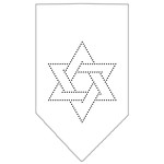 Star Of David Rhinestone Bandana White Small
