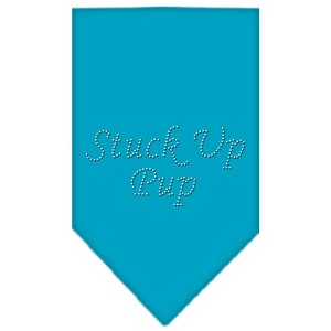 Stuck Up Pup Rhinestone Bandana Turquoise Large