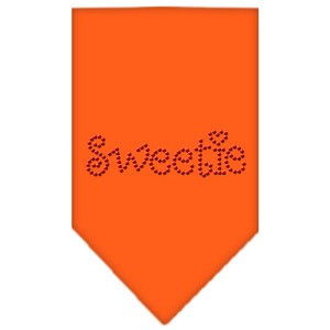 Sweetie Rhinestone Bandana Orange Large