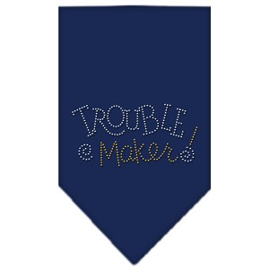 Trouble Maker Rhinestone Bandana Navy Blue large