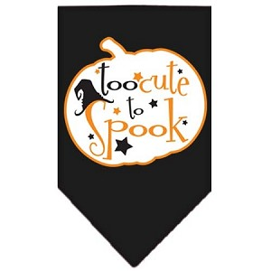Too Cute to Spook Screen Print Bandana Black Small