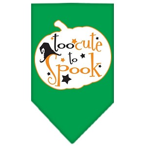Too Cute to Spook Screen Print Bandana Emerald Green Small