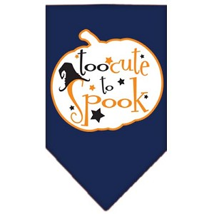 Too Cute to Spook Screen Print Bandana Navy Blue Small