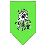 Free Spirit Screen Print Bandana Lime Green Small