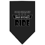 Bitches Ride Screen Print Bandana Black Small