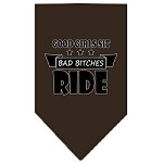 Bitches Ride Screen Print Bandana Cocoa Small