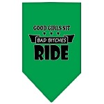 Bitches Ride Screen Print Bandana Emerald Green Small
