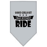 Bitches Ride Screen Print Bandana Grey Small