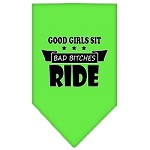 Bitches Ride Screen Print Bandana Lime Green Small