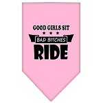 Bitches Ride Screen Print Bandana Light Pink Small
