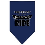 Bitches Ride Screen Print Bandana Navy Blue Small