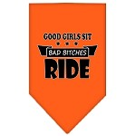 Bitches Ride Screen Print Bandana Orange Small