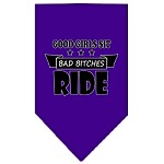 Bitches Ride Screen Print Bandana Purple Small
