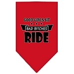 Bitches Ride Screen Print Bandana Red Small