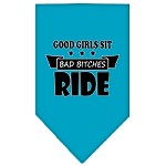 Bitches Ride Screen Print Bandana Turquoise Small