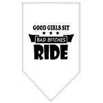 Bitches Ride Screen Print Bandana White Small