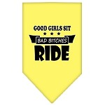 Bitches Ride Screen Print Bandana Yellow Small