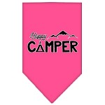 Happy Camper Screen Print Bandana Bright Pink Large