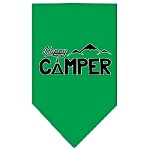 Happy Camper Screen Print Bandana Emerald Green Small