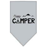 Happy Camper Screen Print Bandana Grey Small