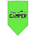 Happy Camper Screen Print Bandana Lime Green Small