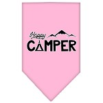 Happy Camper Screen Print Bandana Light Pink Small