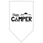 Happy Camper Screen Print Bandana White Small
