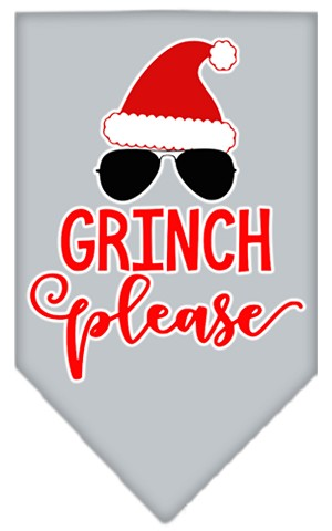 Grinch Please Screen Print Bandana Grey Large