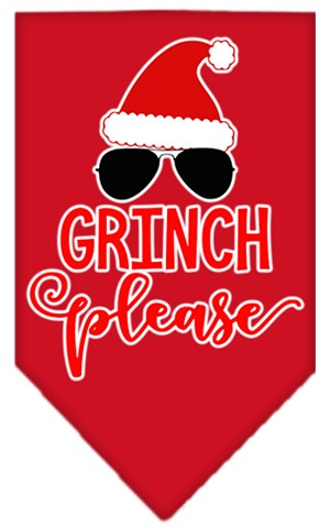 Grinch Please Screen Print Bandana Red Large