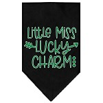Little Miss Lucky Charm Screen Print Bandana Black Small