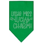 Little Miss Lucky Charm Screen Print Bandana Emerald Green Small