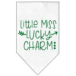 Little Miss Lucky Charm Screen Print Bandana White Small
