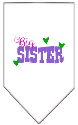 Big Sister Screen Print Bandana White Small