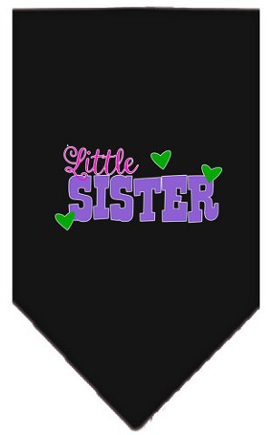 Little Sister Screen Print Bandana Black Small