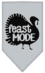 Feast Mode Screen Print Bandana Grey Small