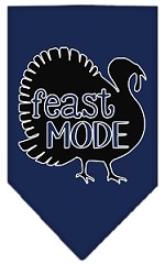 Feast Mode Screen Print Bandana Navy Blue Small
