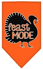 Feast Mode Screen Print Bandana Orange Small