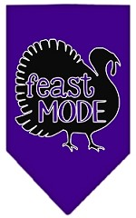 Feast Mode Screen Print Bandana Purple Small