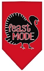 Feast Mode Screen Print Bandana Red Small