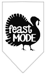 Feast Mode Screen Print Bandana White Small