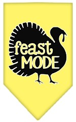 Feast Mode Screen Print Bandana Yellow Small