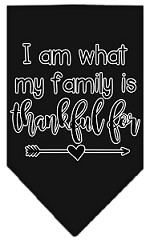 I Am What My Family is Thankful For Screen Print Bandana Black Small