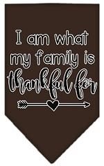 I Am What My Family is Thankful For Screen Print Bandana Cocoa Small