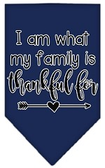 I Am What My Family is Thankful For Screen Print Bandana Navy Blue Small