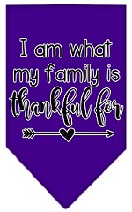 I Am What My Family is Thankful For Screen Print Bandana Purple Small