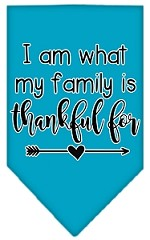 I Am What My Family is Thankful For Screen Print Bandana Turquoise Small
