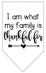 I Am What My Family is Thankful For Screen Print Bandana White Small