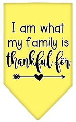 I Am What My Family is Thankful For Screen Print Bandana Yellow Small