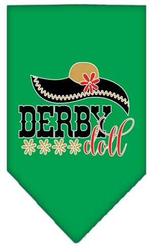 Derby Doll Screen Print Bandana Emerald Green Large