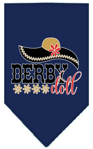 Derby Doll Screen Print Bandana Navy Blue large